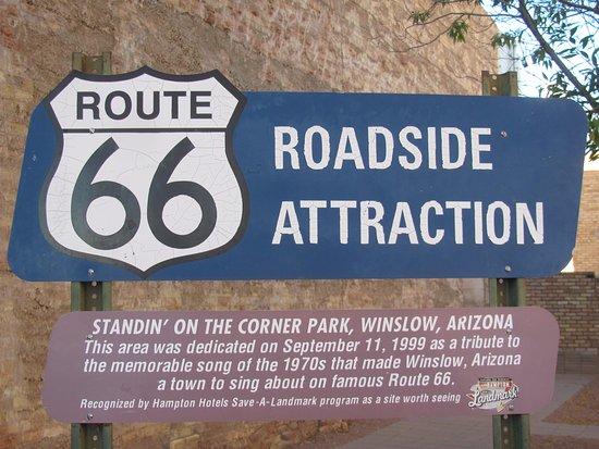 Winslow, AZ: Tourist sign at the park.