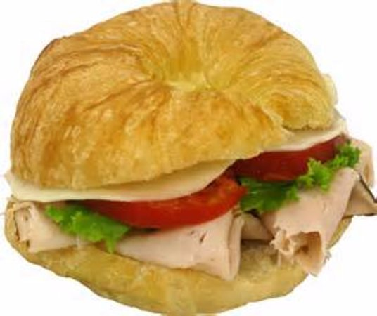 Eufaula, OK: Turkey & Swiss Cheese Croissant Sandwich, served with Lettuce & Tomato