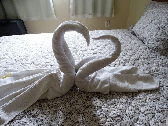 Pousada Raio de Sol: Detalhe das toalhas na cama