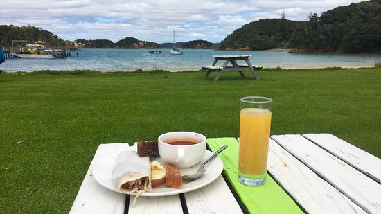 Paihia, Νέα Ζηλανδία: Dolphins, the Hole in the Rock, lunch on Otehei Bay, view from hilltop on Urupukapuka Island loo