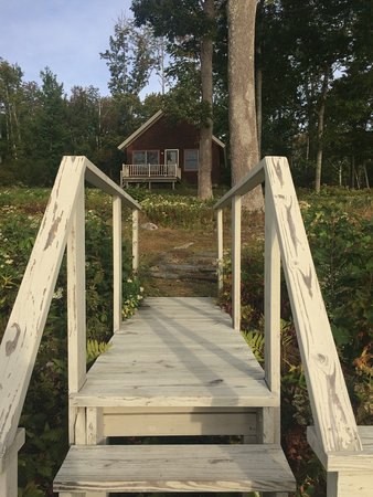Lincolnville, ME: Our dock leading down to the water and sitting area