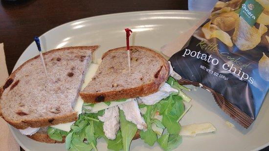 Auburn, CA: Turkey, white cheddar and arugula sandwich with chips