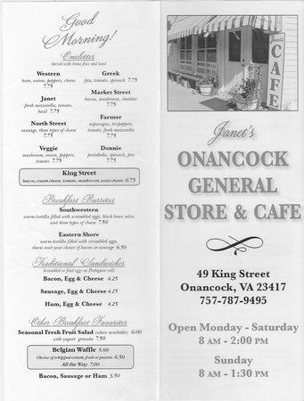 Janet's Onancock General Store & Cafe: Menu-Page 1