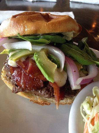 Richland, MI: Avocado, Bacon, Onion, Spinach and Amish Baby Swiss Burger