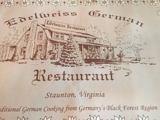Staunton, VA: Restaurant info on placemat
