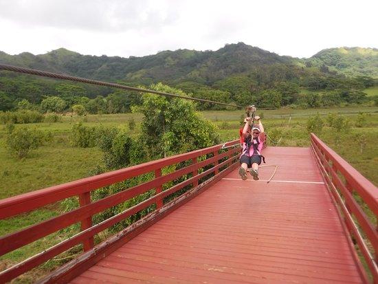 Koloa, Hawaï: 1/2 mile zipline! Very fast.