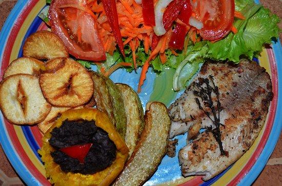 Punta Uva, คอสตาริกา: Tilapia a la plancha, canasta de patacon rellena de crema frioles negros, chips de yuca y chayot