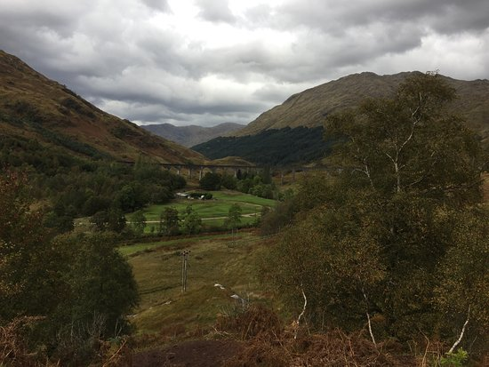 Glenfinnan, UK: the viaduct in the distance and before the train crosses