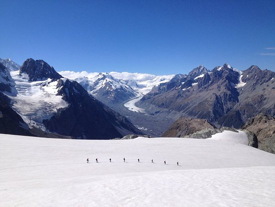 Crossing the Ball Glacier on the way to Ball Pass with Tasman Glacier in the distance