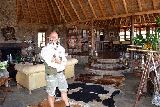 Campi ya Kanzi: Luca and pal in the main lodge