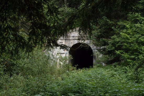 Skykomish, WA: West end of Cascade Tunnel entering into Wellington