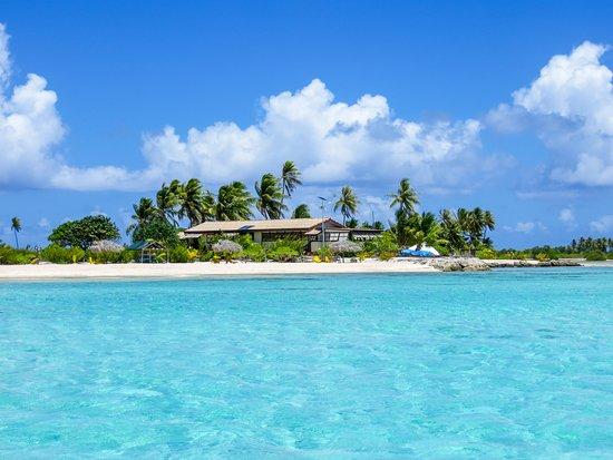 Tuherahera, Polinésia Francesa: Lodge von der Lagune fotografiert