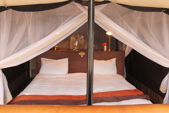 Manyeleti Game Reserve, Sudáfrica: säng i tältet