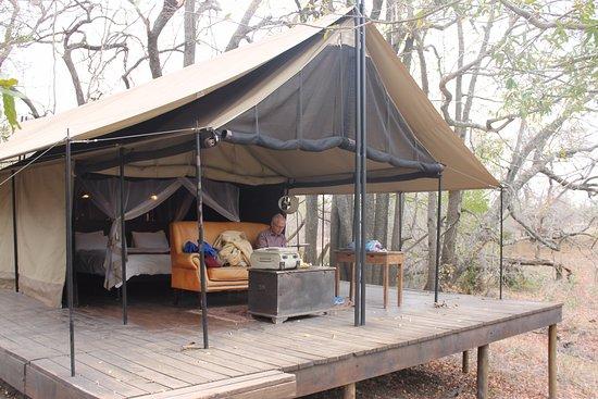Manyeleti Game Reserve, Sudáfrica: tältet.