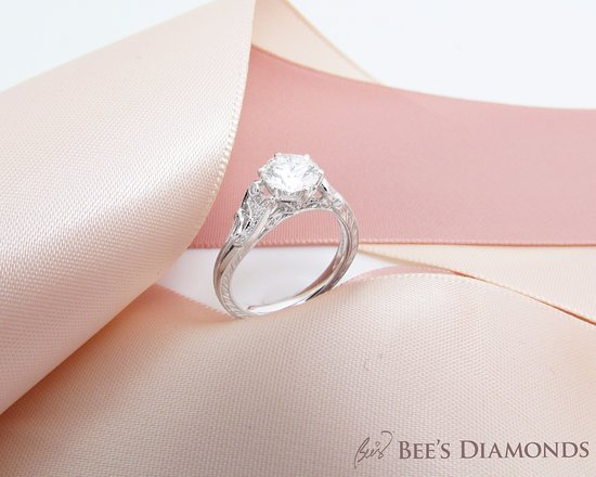 Vintage diamond engagement ring designed and hand crafted by Bees