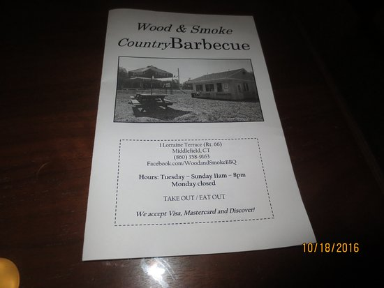 Middlefield, CT: menu cover