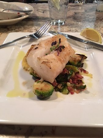 Goin' Coastal Sustainable Seafood Joint: A Cod special - with Brussel Sprouts/Bacon and Spaghetti Squash