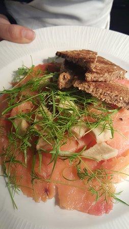 Berkhamsted, UK : SLOE GIN SMOKED SALMON  Pickled apples & fennel cress