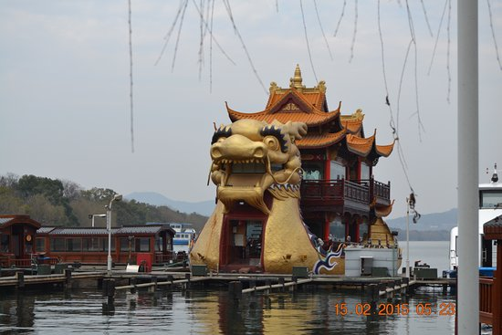 Zhongshan, China: This is one of the boats on the water that is a restaurant,you can use at train for transport.