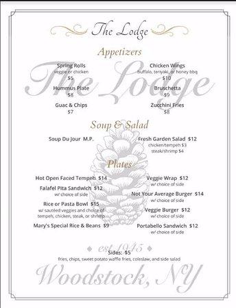 Woodstock, estado de Nueva York: Our restaurant menu.