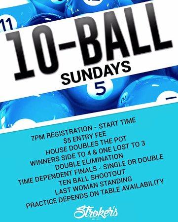 Palm Harbor, FL: Rolando Aravena hosting 10-ball tournaments every Sunday night at Stroker's.