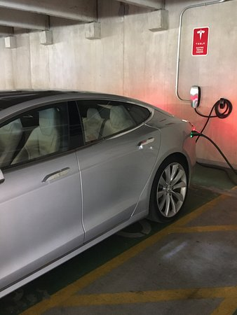 Hyatt Regency Austin Tesla Charging Stations Close To The Entrance From Parking Garage