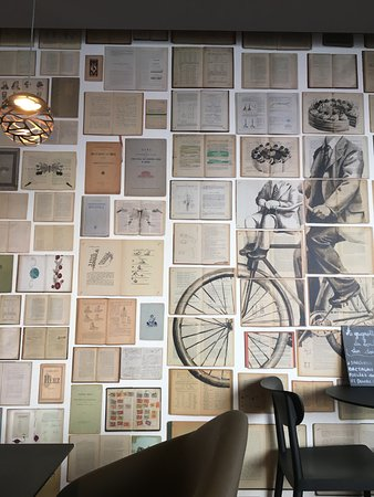 A La Veille Ecole: A Very Interesting Book Wall Inside The Creperie!