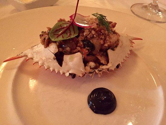 Restaurant August: Stuffed blue crab with Black Garlic Aioli