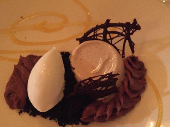 Restaurant August: Amazing...panna cotta with ganache and ice cream.