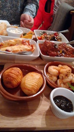 Newport -Trefdraeth, UK: The mediterranean style dishes including prawns, chicken, salmon, ratatouille,