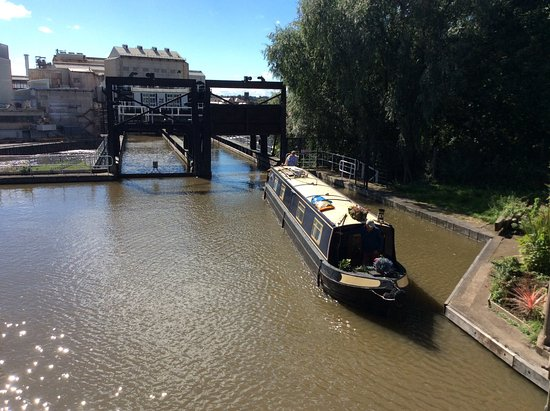 Northwich, UK : A private boat leaving the lock of the boat lift