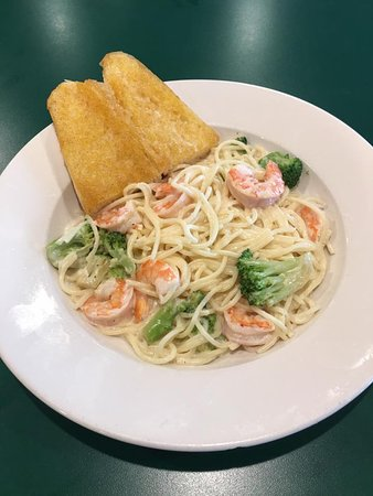 Onley, VA: Shrimp and Broccoli Alfredo Dinner. This also comes with a small tossed salad and garlic bread.