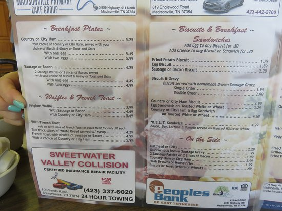 Madisonville, TN: Menu - Linda's Cafe
