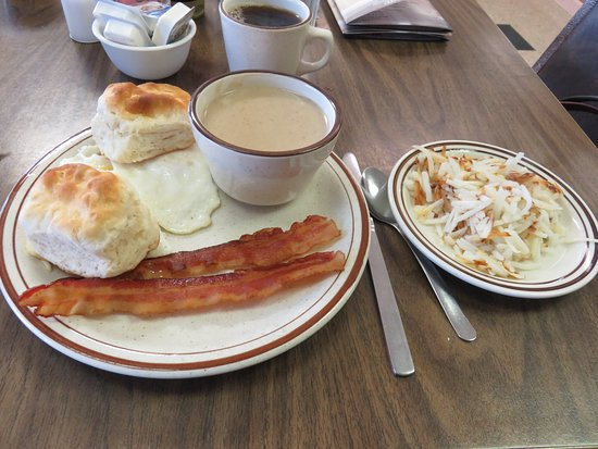 Madisonville, TN: Over Easy Eggs with Bacon, Biscuits, Brown Gravy and Hash Browns