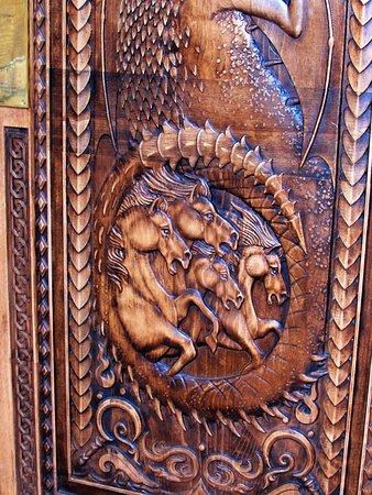 Ballycastle, UK: detail of the bottom half of door