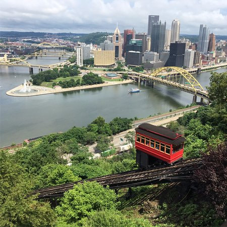 Duquesne Incline: View of the Incline car and Point State Park.