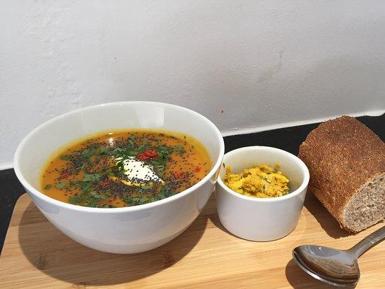 Рингвуд, UK: Sweet potato & coconut soup, lovely winter warmer