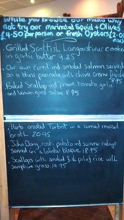 Blairgowrie, UK: Daily specials blackboard