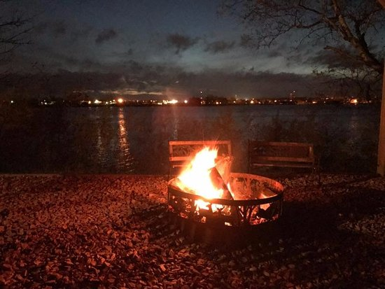 Rice Lake, WI: campfire at dusk