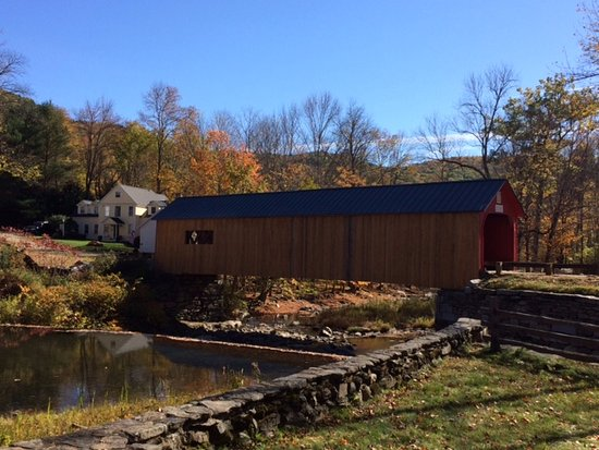 Guilford, VT: View of covered bridge over Green River & Green River Bridge House