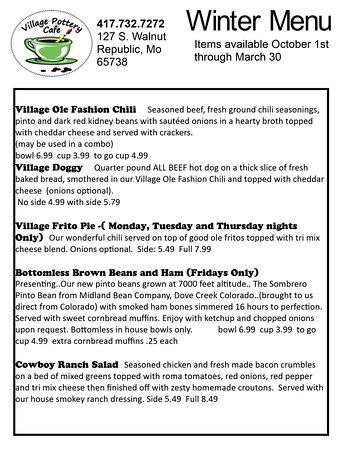 Republic, MO: additional winter menu items availble thru March, 2017