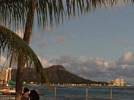 Diamond Head at sunset from lawn at House Without A Key