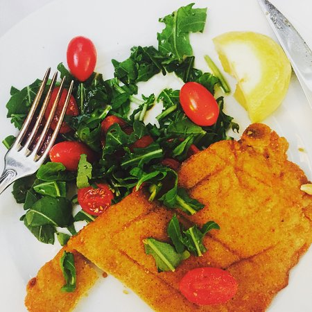 Veal Milanese with Arugula & Cherry Tomtaos