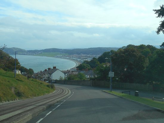 Great Orme: View of Llandudno driving down beside the tram tracks