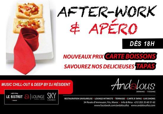 Andalous - Bistrot • Lounge • Sky - Fès : «AFTERWORK & APÉRO»