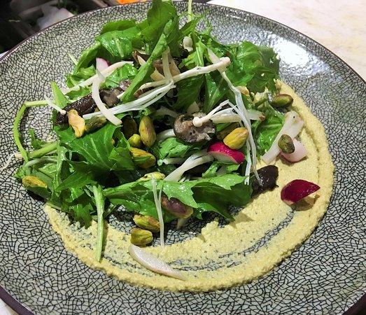 Asbury Park, نيو جيرسي: Oyster Mushroom and Sunchoke Salad: Braised pistachio puree, pickled sunchoke, mizuna