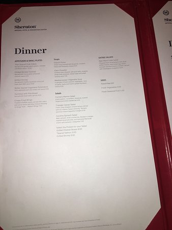 Sheraton Imperial Hotel and Convention Center: The food is good, the menu is unreadable.  Whoever designed the menu needs to take a design clas