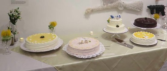 Amherst, MA: wedidng cake table at our Brattleboro, VT museum wedding