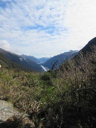 Manapouri, نيوزيلندا: Road summit,bus stopped for photos-doubtful sound ahead