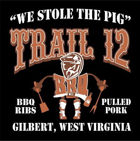 Gilbert, Virginia Occidental: Trail 12 BBQ Logo #WeStoleThePig